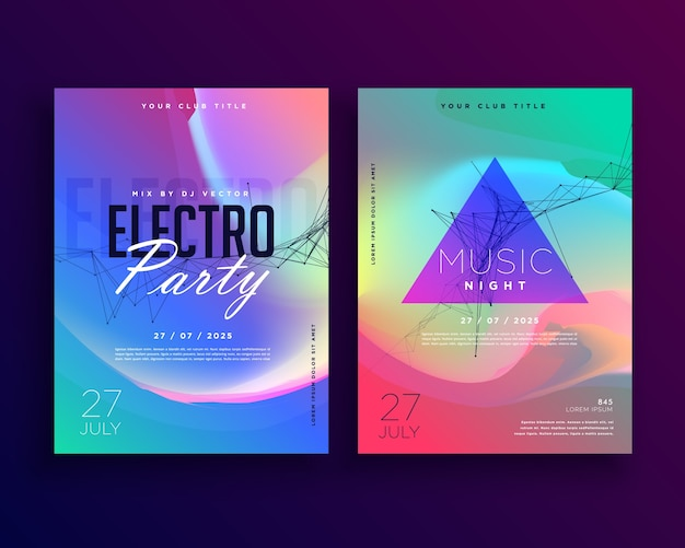 Electro music bunte party-event-flyer-vorlage-design