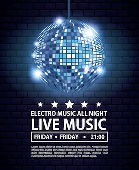 Electro musik festivas plakat mit discokugel