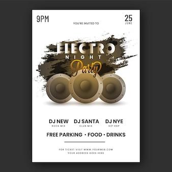 Electro night party flyer design mit tieftönern, schwarzer pinseleffekt auf weißem hintergrund.