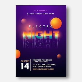 Electro night party template design mit details zum veranstaltungsort in lila farbe.