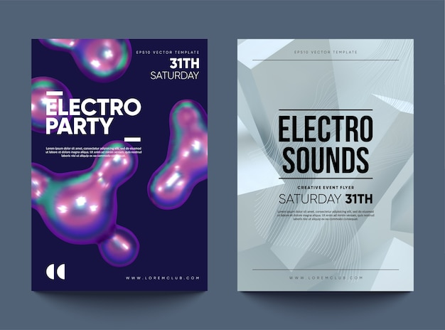Electro party club einladungsflyer. tanzparty-design mit abstrakten formen.