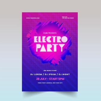 Electro party flyer oder poster design in abstrakter rosa und blauer farbe.