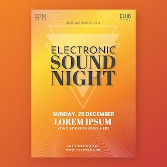 Electronic sound night flyer design mit details zum veranstaltungsort in orangefarbenem farbverlauf.