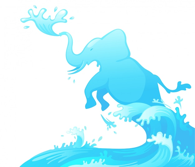 Elefant aus wasser springen