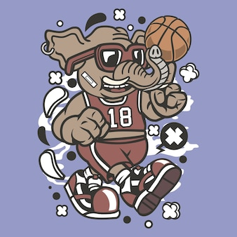 Elefant-basketball-spieler