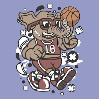 Elefant-basketball-spieler