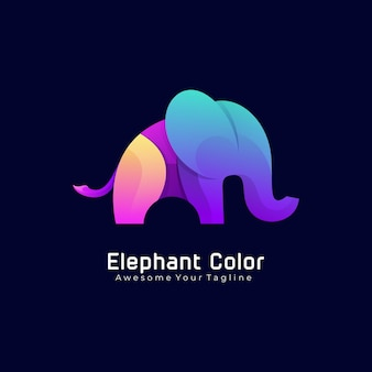 Elefant bunte farbverlauf logo vorlage