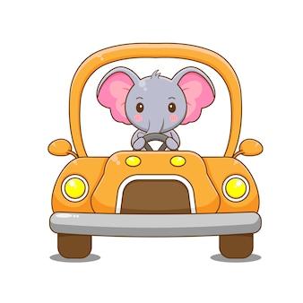 Elefant charakter fahren auto.