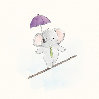 Elefant, der auf einem seil balanciert