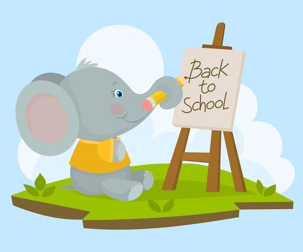 Elefant, der ein plakat schreibt