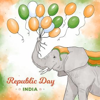 Elefant, der mit tag der indischen republik der ballone spielt