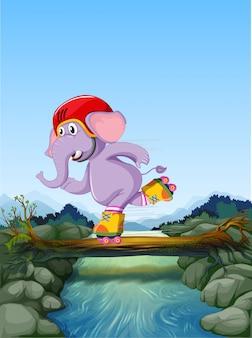 Elefant, der rollschuh spielt