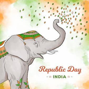 Elefant, der tag der indischen republik des konfettis wirft