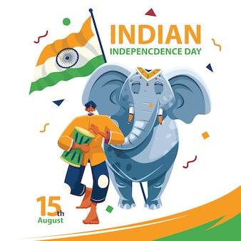Elefant des indischen unabhängigkeitstags mit mann