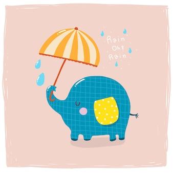Elefant hält regenschirm im regnerischen tierkarikatur niedlich
