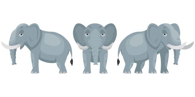 Elefant in verschiedenen posen. afrikanisches tier im karikaturstil.