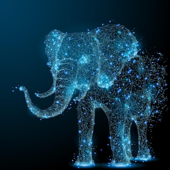 Elefant isoliert aus low-poly-drahtmodell auf dunklem hintergrund polygonales vektorbild
