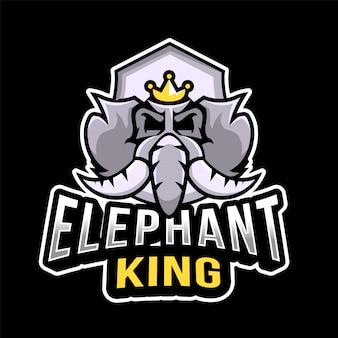 Elefant könig esport logo vorlage