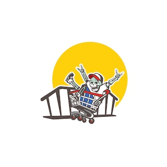Elefant-maskottchen-cartoon-logo-vorlage für sportmaskottchen geeignet