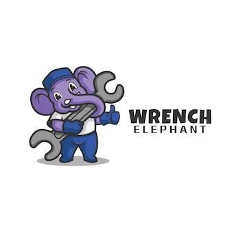 Elefant mit schraubenschlüssel logo charakter. maskottchen-logo.