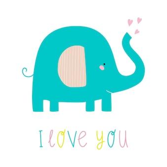 Elefant mit schriftzug ich liebe dich nette flache vektorgrafik mit elefanten