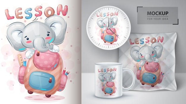 Elefant mit schultaschenplakat und merchandising