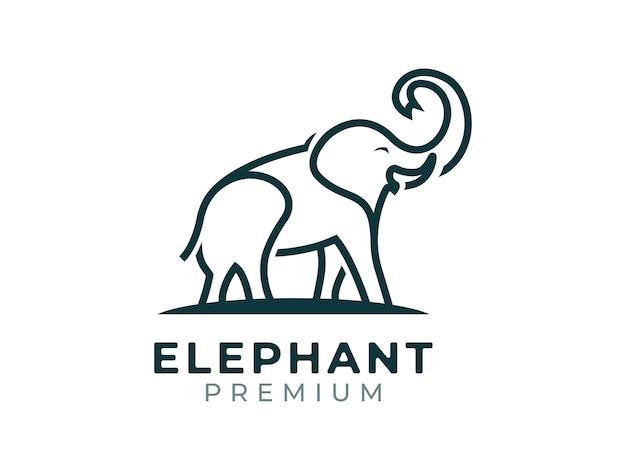 Elefant mono line logo-design-konzept