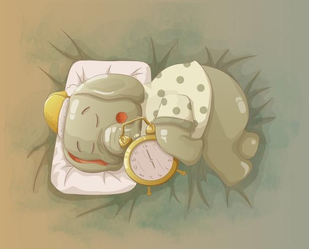 Elefant schläft, indem er den wecker umarmt