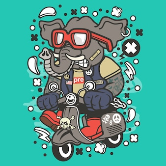 Elefant-scooterist-karikatur