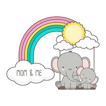 Elefant und baby schwingen auf einem regenbogen. muttertag-kartenvektorabbildung.