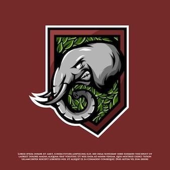 Elefant und blätter-abzeichen-logo