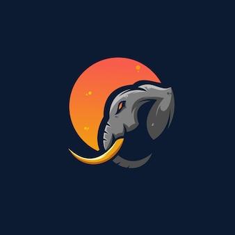 Elefant und mond logo design