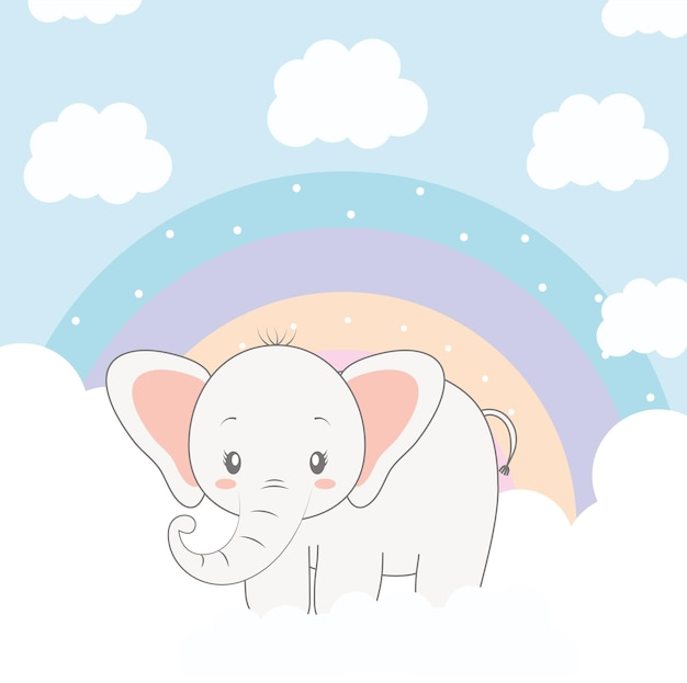 Elefant und regenbogen