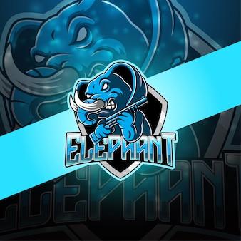Elefanten-esport-maskottchen-logo