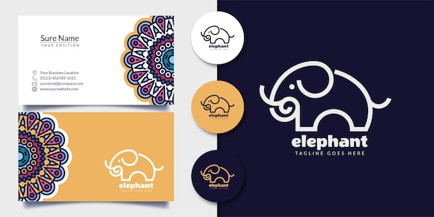 Elefanten-logo-umriss-stil mit visitenkarte