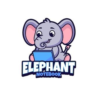 Elefanten-notizbuch-maskottchen-logo