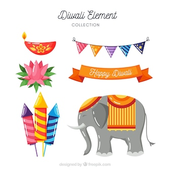 Elefanten- und diwali-elemente
