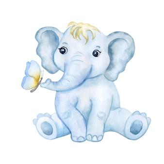 Elefantenbaby mit schmetterling