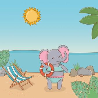 Elefantenkarikatur im strand
