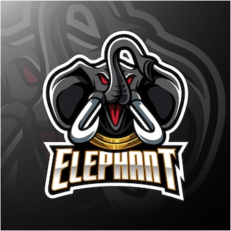 Elefantenkopf maskottchen logo design