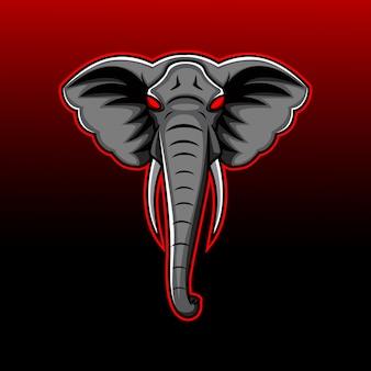 Elefantenkopf maskottchen logo