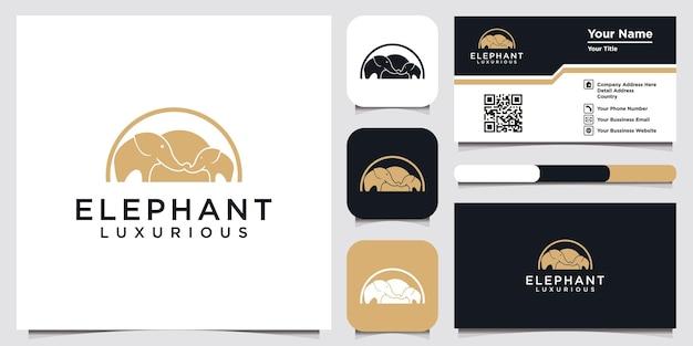 Elefantenlogo-designikonenschablonenelement und visitenkarte