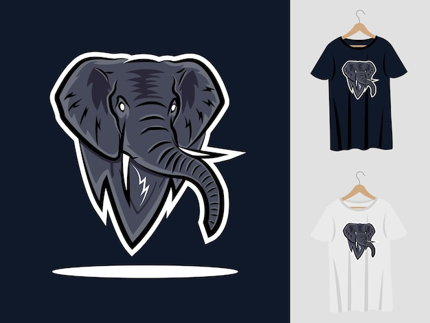 Elefantenlogo-maskottchenentwurf mit t-shirt. elefantenkopfillustration für sportmannschaft und bedruckendes t-shirt