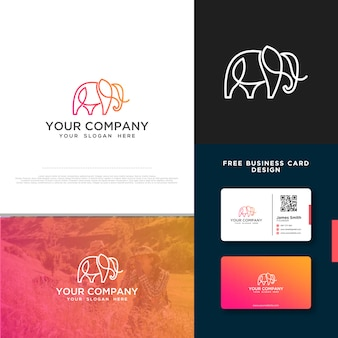 Elefantenlogo mit gratis-visitenkarte