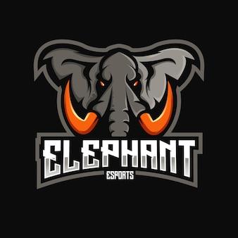 Elefantenmaskottchen-logoentwurf mit modernem illustrationskonzeptstil