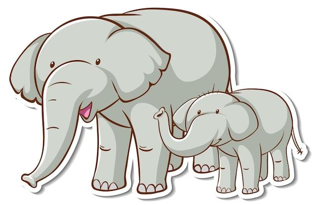 Elefantenmutter und babyaufkleber