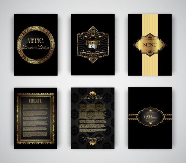 Elegant und goldenen broschüren vorlagen