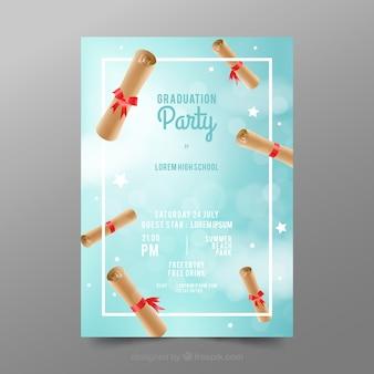 Elegante abschluss-party einladung mit realistischem entwurf