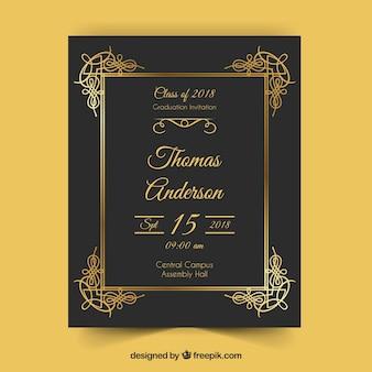 Elegante abschlusseinladungsschablone mit goldener art