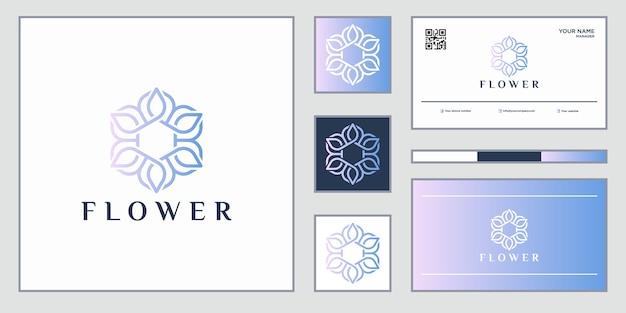 Elegante abstrakte blumen, die schönheit, yoga und spa inspirieren. logo-design und visitenkarte